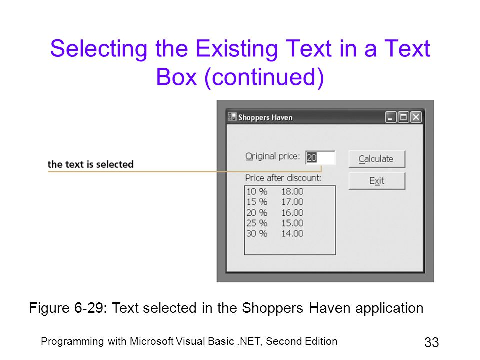 Programming with Microsoft Visual Basic.NET, Second Edition 33 Selecting the Existing Text in a Text Box (continued) Figure 6-29: Text selected in the
