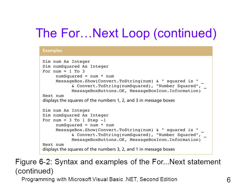 Programming with Microsoft Visual Basic.NET, Second Edition 7 The For…Next Loop (continued) counter is a numeric variable that keeps track of how many times the loop instructions are repeated startvalue, endvalue, and stepvalue –Must be numeric –Can be positive or negative, integer or non-integer –Default stepvalue is 1