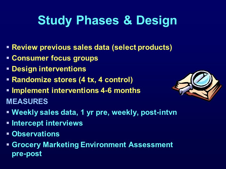  Review previous sales data (select products)  Consumer focus groups  Design interventions  Randomize stores (4 tx, 4 control)  Implement interventions 4-6 months MEASURES  Weekly sales data, 1 yr pre, weekly, post-intvn  Intercept interviews  Observations  Grocery Marketing Environment Assessment pre-post Study Phases & Design