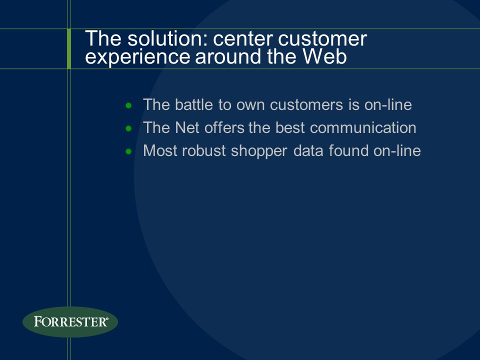 The solution: center customer experience around the Web  The battle to own customers is on-line  The Net offers the best communication  Most robust shopper data found on-line