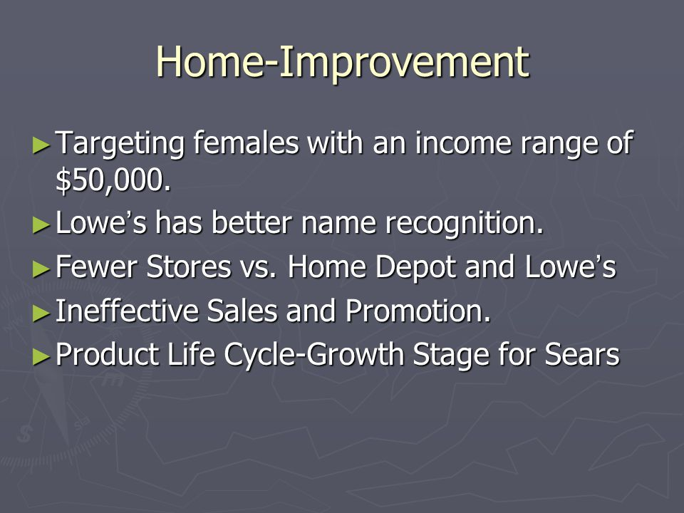 Home-Improvement ► Targeting females with an income range of $50,000.