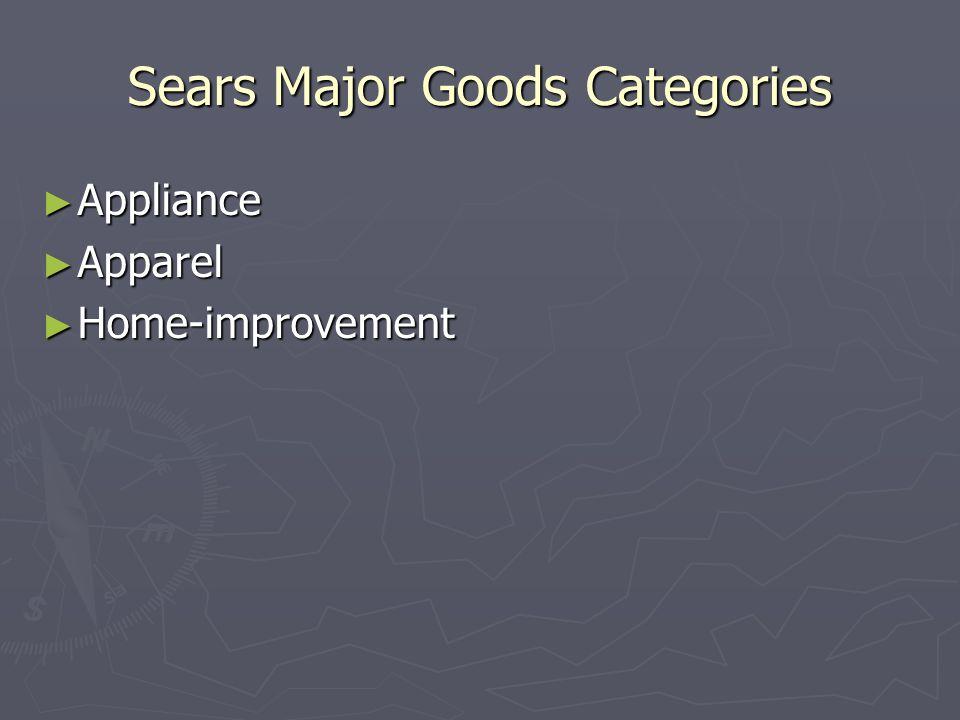 Sears Major Goods Categories ► Appliance ► Apparel ► Home-improvement