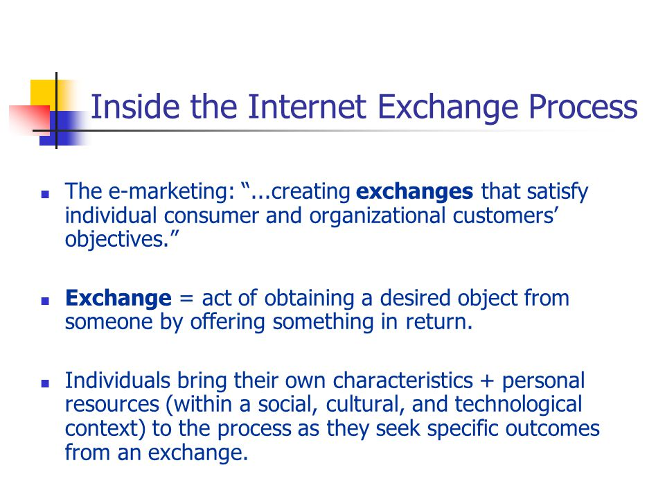 "Inside the Internet Exchange Process The e-marketing: ""...creating exchanges that satisfy individual consumer and organizational customers' objectives"