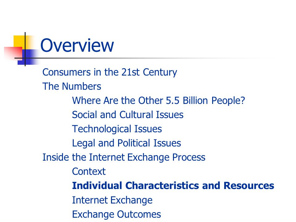 Overview Consumers in the 21st Century The Numbers Where Are the Other 5.5 Billion People? Social and Cultural Issues Technological Issues Legal and P