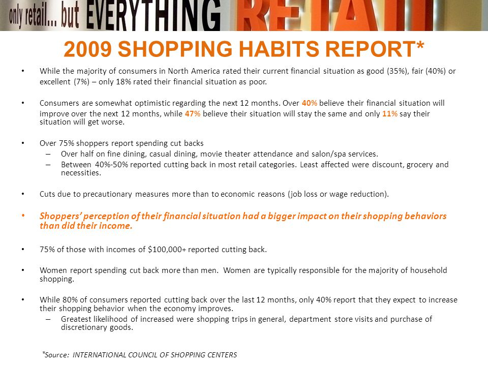 2009 SHOPPING HABITS REPORT* While the majority of consumers in North America rated their current financial situation as good (35%), fair (40%) or exc
