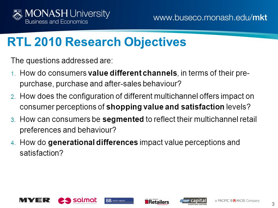 3 RTL 2010 Research Objectives The questions addressed are: 1.