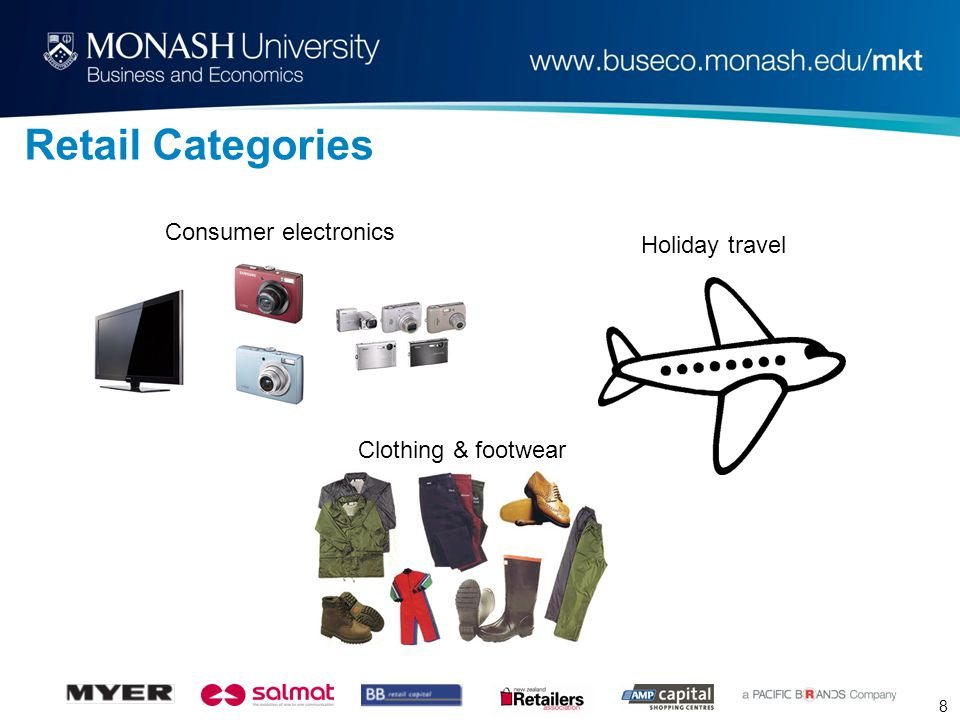 8 Retail Categories Consumer electronics Holiday travel Clothing & footwear