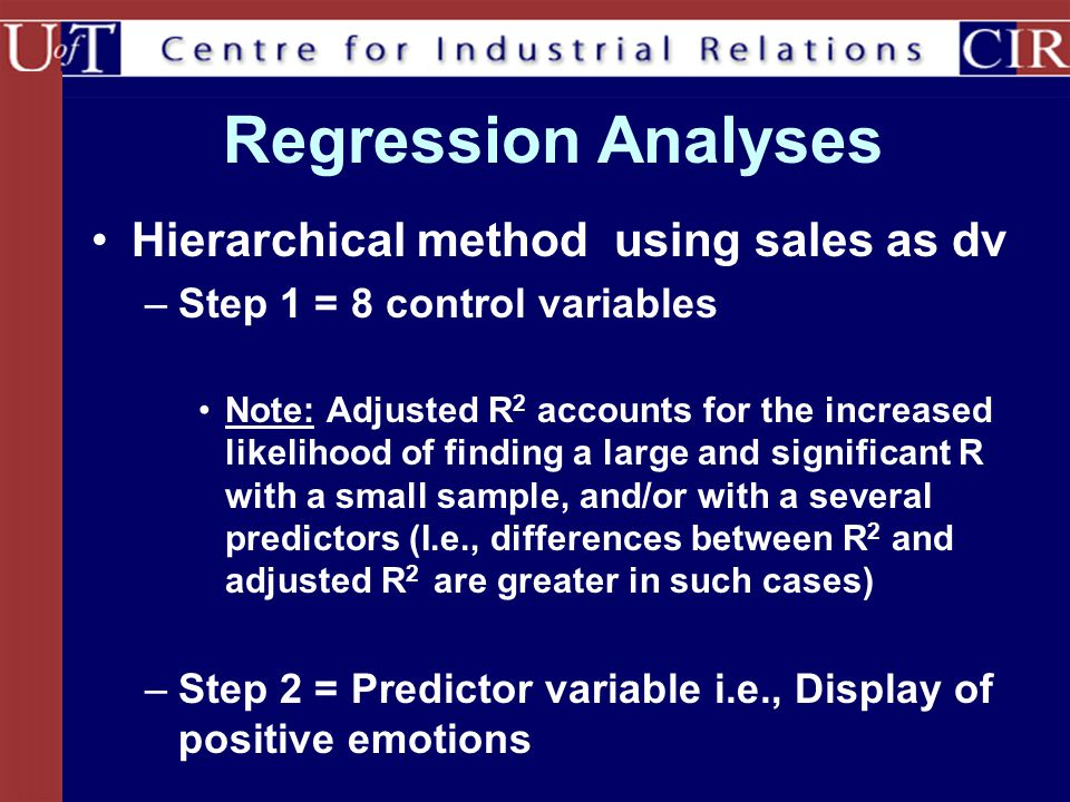 Regression Analyses Hierarchical method using sales as dv –Step 1 = 8 control variables Note: Adjusted R 2 accounts for the increased likelihood of fi