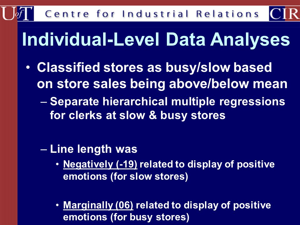 Individual-Level Data Analyses Classified stores as busy/slow based on store sales being above/below mean –Separate hierarchical multiple regressions