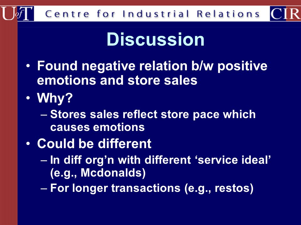 Discussion Found negative relation b/w positive emotions and store sales Why? –Stores sales reflect store pace which causes emotions Could be differen
