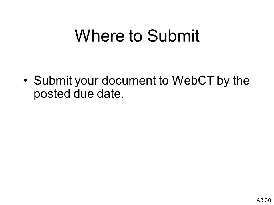 A3.30 Where to Submit Submit your document to WebCT by the posted due date.