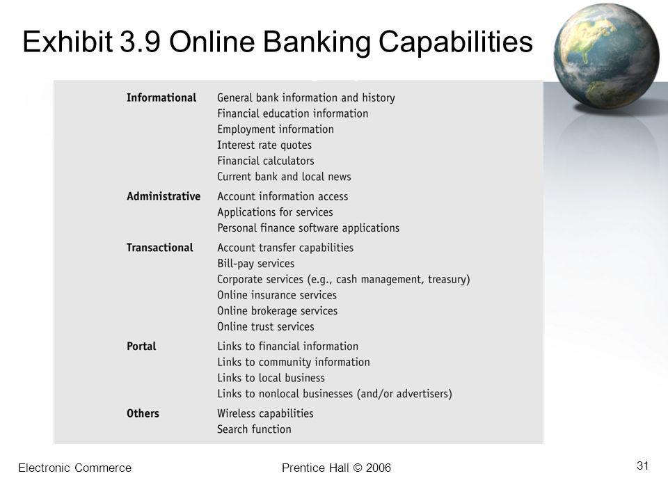 Electronic CommercePrentice Hall © 2006 31 Exhibit 3.9 Online Banking Capabilities