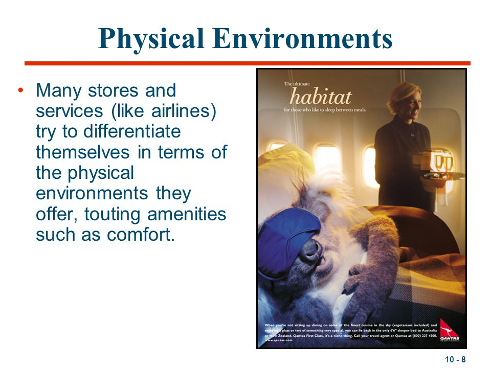 10 - 8 Physical Environments Many stores and services (like airlines) try to differentiate themselves in terms of the physical environments they offer