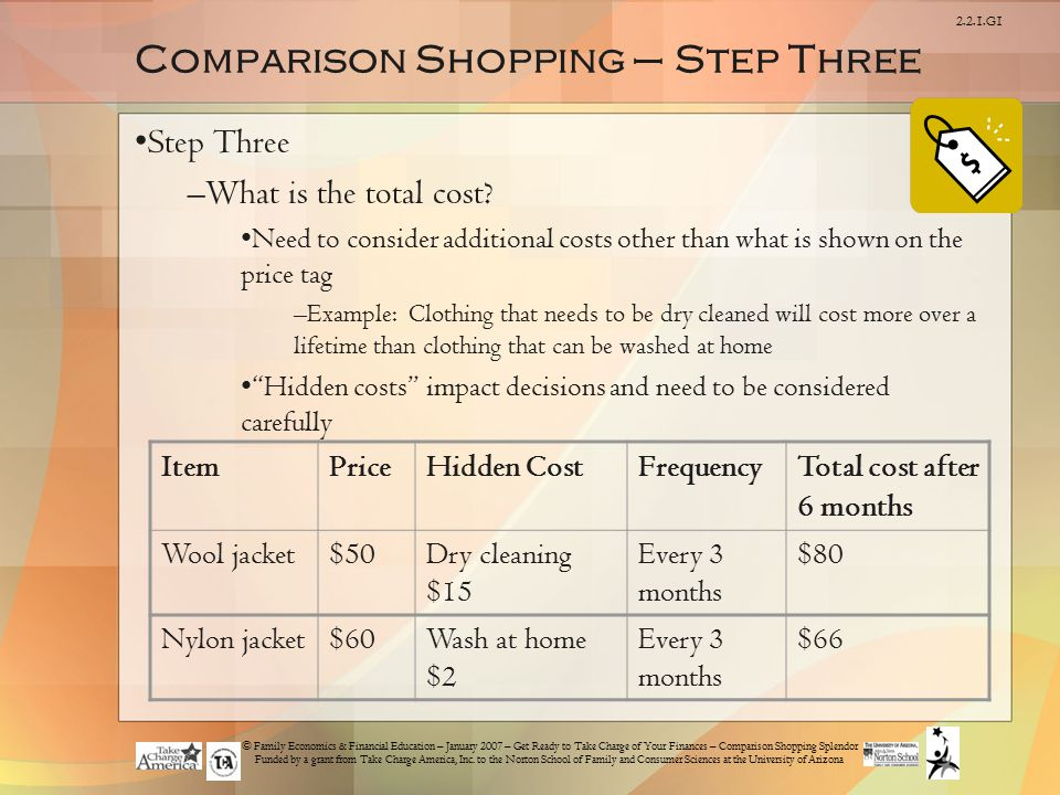 © Family Economics & Financial Education – January 2007 – Get Ready to Take Charge of Your Finances – Comparison Shopping Splendor Funded by a grant from Take Charge America, Inc.