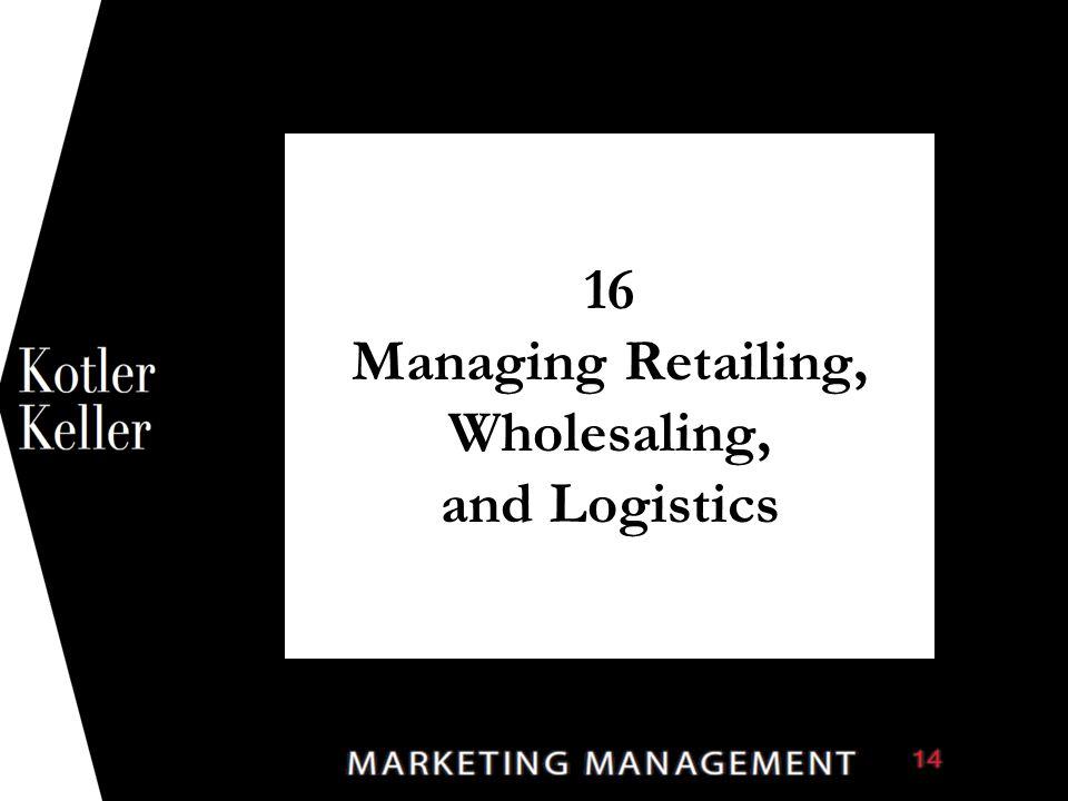 16 Managing Retailing, Wholesaling, and Logistics 1
