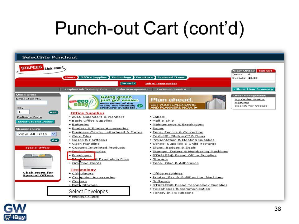38 Punch-out Cart (cont'd) Select Envelopes