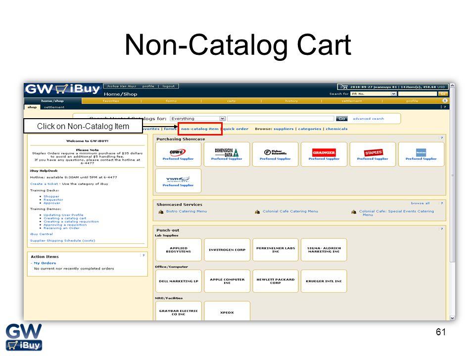 61 Non-Catalog Cart Click on Non-Catalog Item