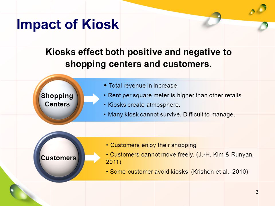 Total revenue in increase Rent per square meter is higher than other retails Kiosks create atmosphere.