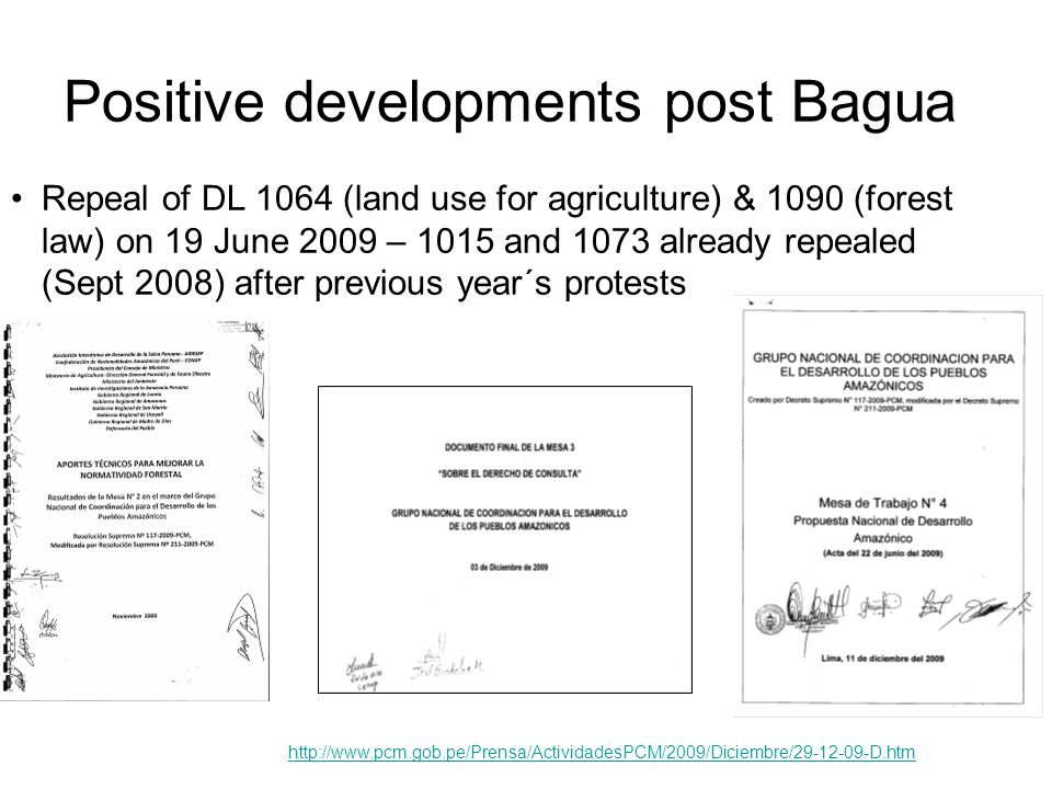 Positive developments post Bagua http://www.pcm.gob.pe/Prensa/ActividadesPCM/2009/Diciembre/29-12-09-D.htm Repeal of DL 1064 (land use for agriculture) & 1090 (forest law) on 19 June 2009 – 1015 and 1073 already repealed (Sept 2008) after previous year´s protests