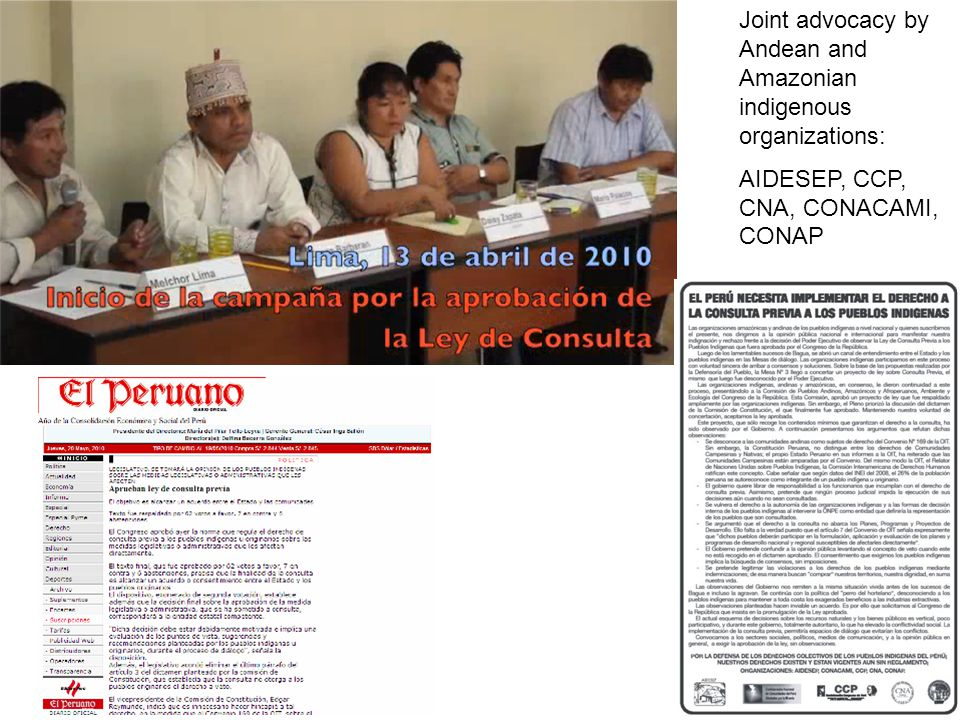 Joint advocacy by Andean and Amazonian indigenous organizations: AIDESEP, CCP, CNA, CONACAMI, CONAP