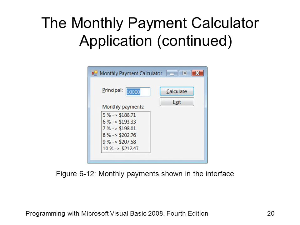 The Monthly Payment Calculator Application (continued) Programming with Microsoft Visual Basic 2008, Fourth Edition20 Figure 6-12: Monthly payments shown in the interface