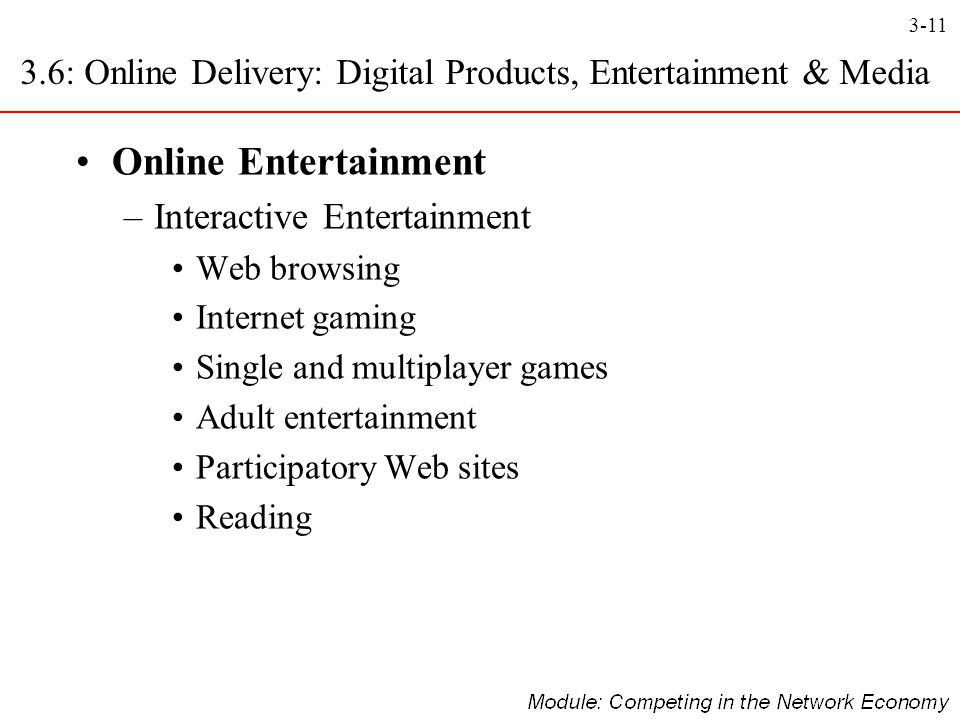 3-11 Online Entertainment –Interactive Entertainment Web browsing Internet gaming Single and multiplayer games Adult entertainment Participatory Web s