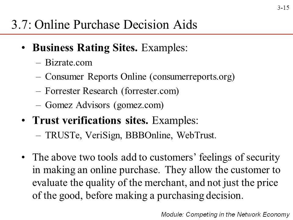 3-15 3.7: Online Purchase Decision Aids Business Rating Sites. Examples: –Bizrate.com –Consumer Reports Online (consumerreports.org) –Forrester Resear