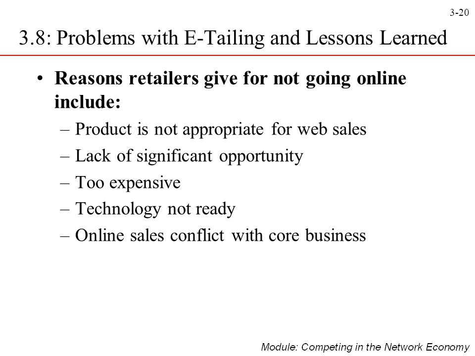 3-20 3.8: Problems with E-Tailing and Lessons Learned Reasons retailers give for not going online include: –Product is not appropriate for web sales –