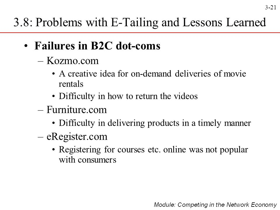 3-21 Failures in B2C dot-coms –Kozmo.com A creative idea for on-demand deliveries of movie rentals Difficulty in how to return the videos –Furniture.c