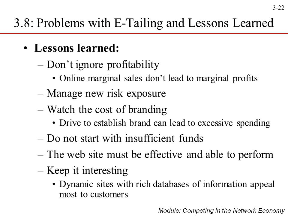 3-22 Lessons learned: –Don't ignore profitability Online marginal sales don't lead to marginal profits –Manage new risk exposure –Watch the cost of br