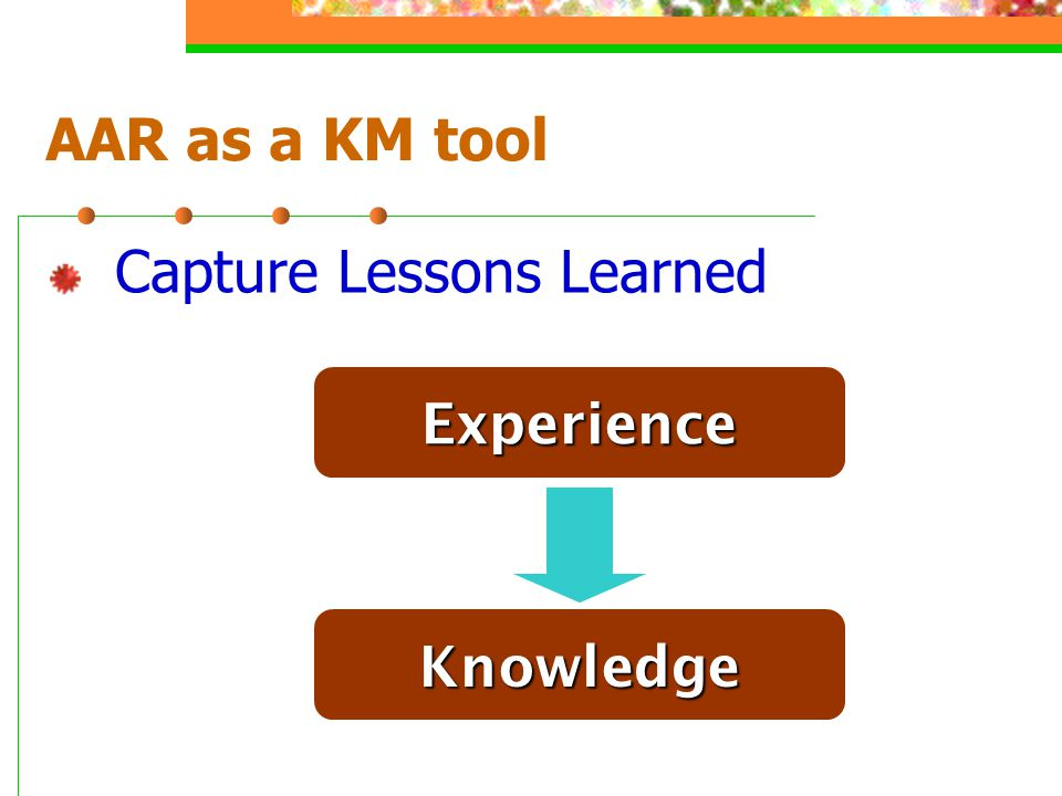 AAR as a KM tool Capture Lessons Learned Experience Knowledge