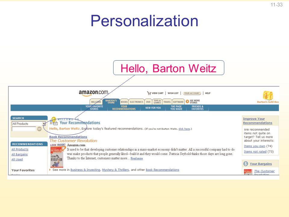11-33 Personalization Hello, Barton Weitz