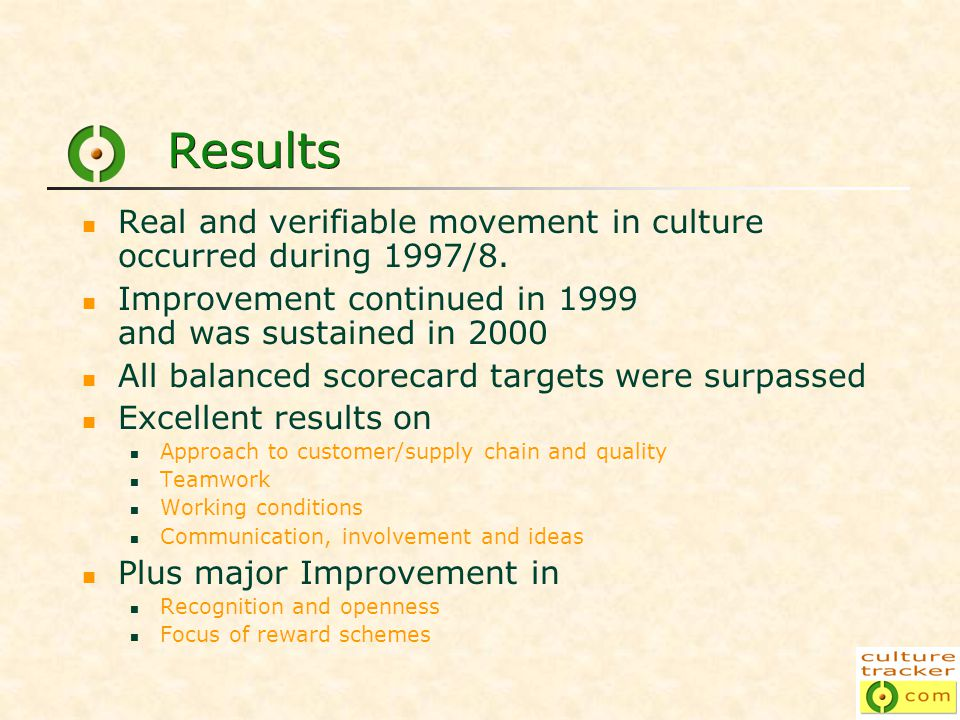 Results Real and verifiable movement in culture occurred during 1997/8.