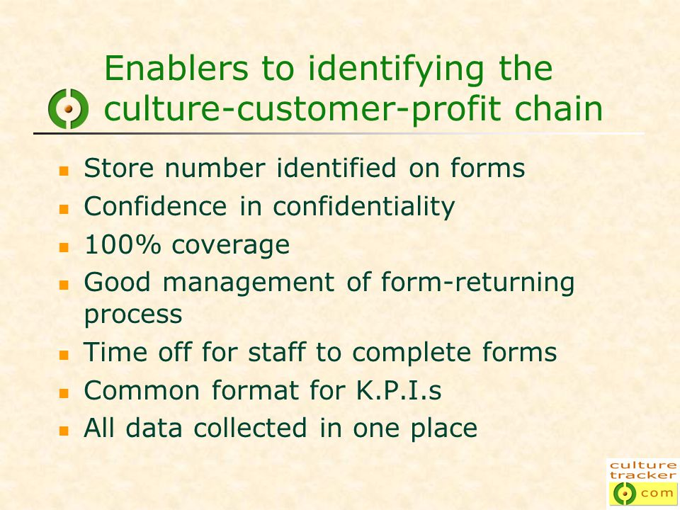 Enablers to identifying the culture-customer-profit chain Store number identified on forms Confidence in confidentiality 100% coverage Good management of form-returning process Time off for staff to complete forms Common format for K.P.I.s All data collected in one place
