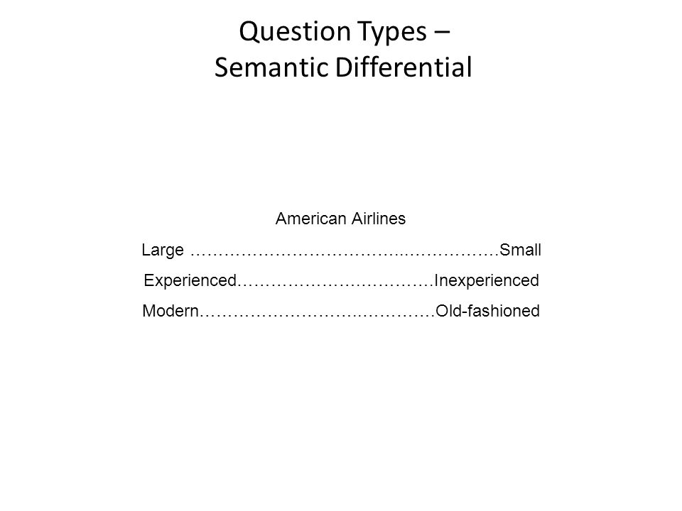 Question Types – Semantic Differential American Airlines Large ………………………………...…………….Small Experienced………………….………….Inexperienced Modern………………………..………….Old-fashioned