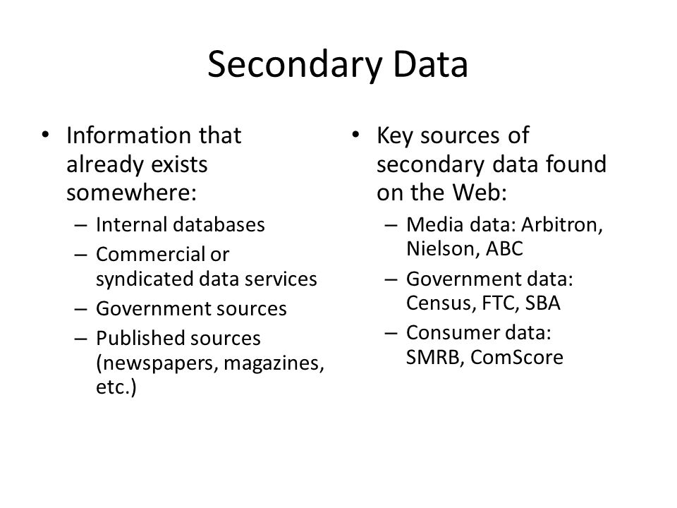 Secondary Data Information that already exists somewhere: – Internal databases – Commercial or syndicated data services – Government sources – Published sources (newspapers, magazines, etc.) Key sources of secondary data found on the Web: – Media data: Arbitron, Nielson, ABC – Government data: Census, FTC, SBA – Consumer data: SMRB, ComScore