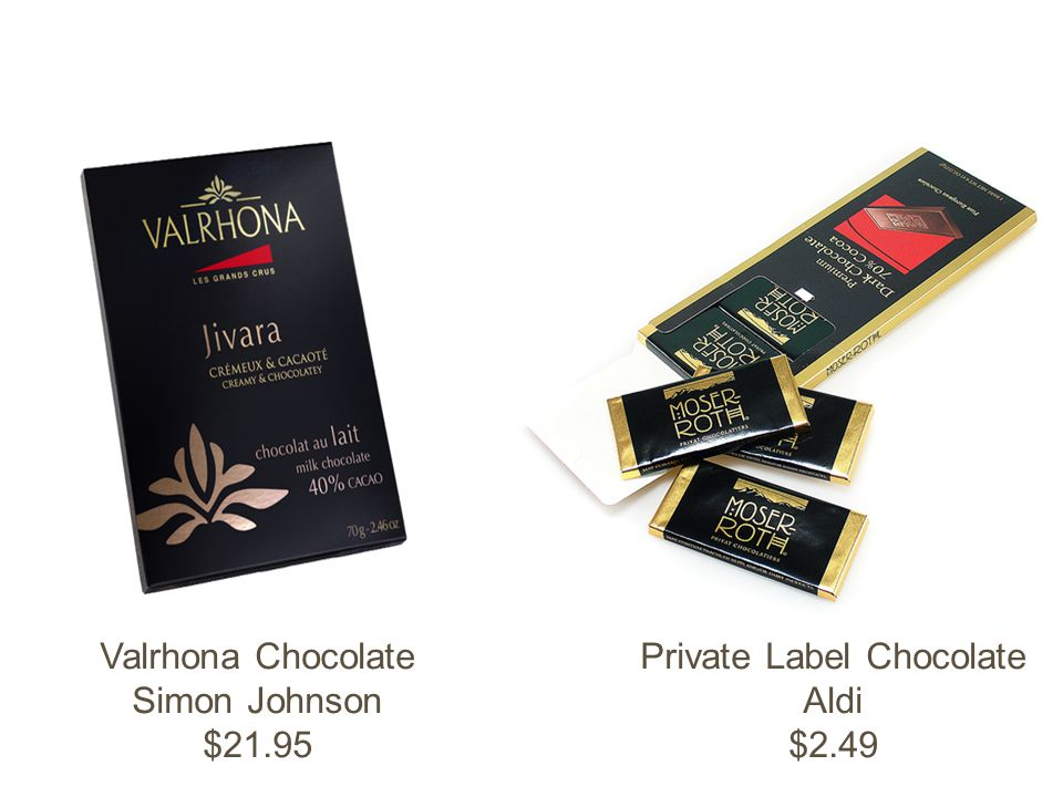 Valrhona Chocolate Simon Johnson $21.95 Private Label Chocolate Aldi $2.49