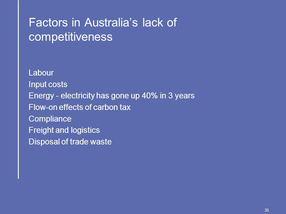 35 Factors in Australia's lack of competitiveness Labour Input costs Energy - electricity has gone up 40% in 3 years Flow-on effects of carbon tax Compliance Freight and logistics Disposal of trade waste