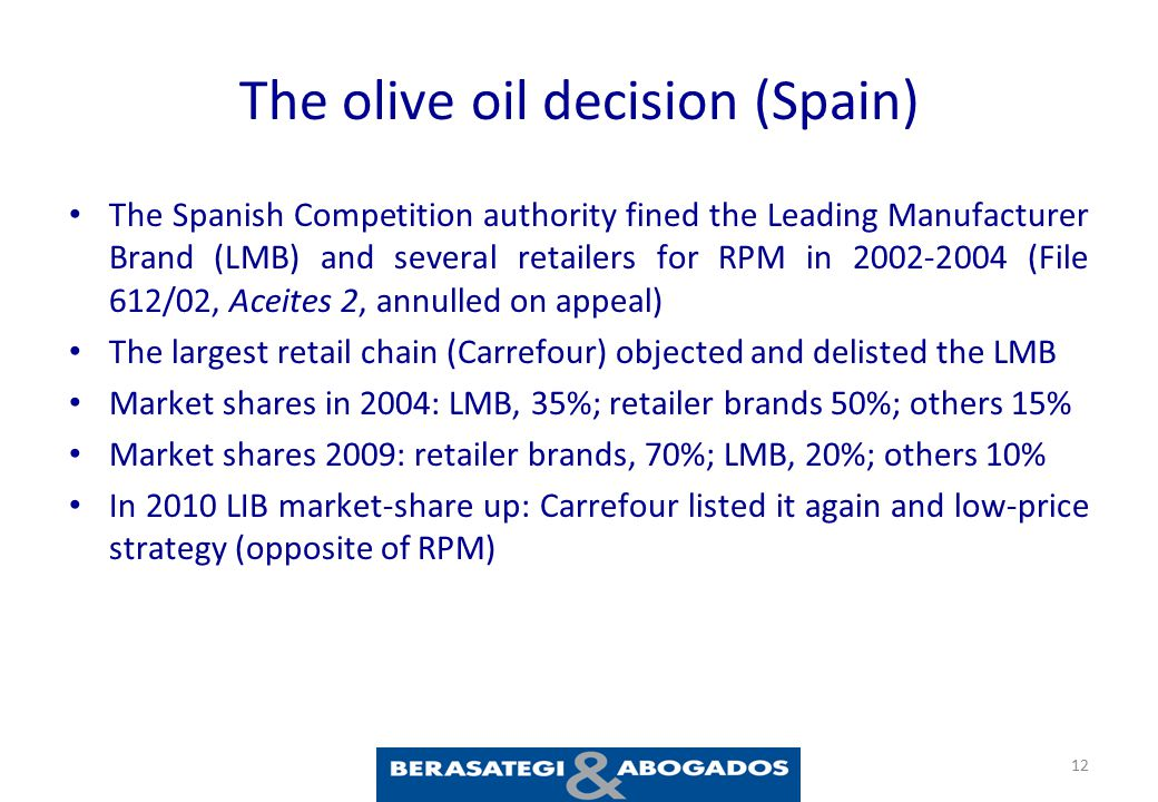 The olive oil decision (Spain) The Spanish Competition authority fined the Leading Manufacturer Brand (LMB) and several retailers for RPM in 2002-2004 (File 612/02, Aceites 2, annulled on appeal) The largest retail chain (Carrefour) objected and delisted the LMB Market shares in 2004: LMB, 35%; retailer brands 50%; others 15% Market shares 2009: retailer brands, 70%; LMB, 20%; others 10% In 2010 LIB market-share up: Carrefour listed it again and low-price strategy (opposite of RPM) 12