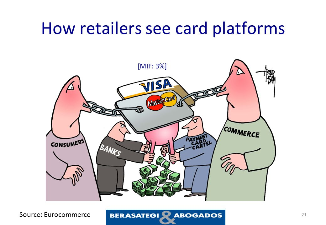 How retailers see card platforms 21 Source: Eurocommerce [MIF: 3%]