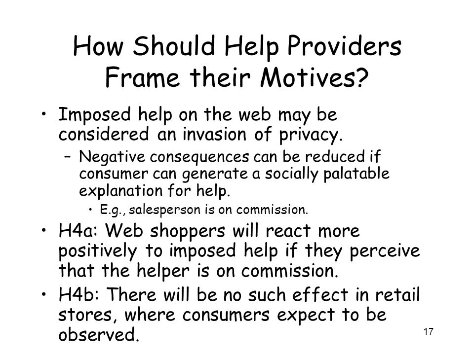 17 How Should Help Providers Frame their Motives.