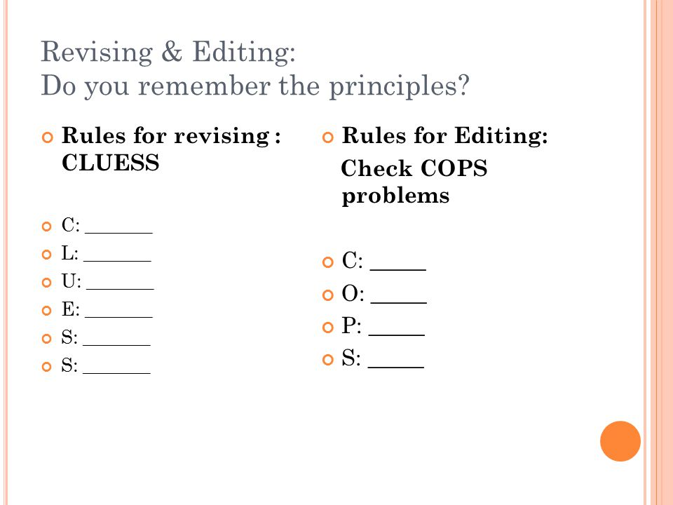 Revising & Editing: Do you remember the principles? Rules for revising : CLUESS C: _______ L: _______ U: _______ E: _______ S: _______ Rules for Editi