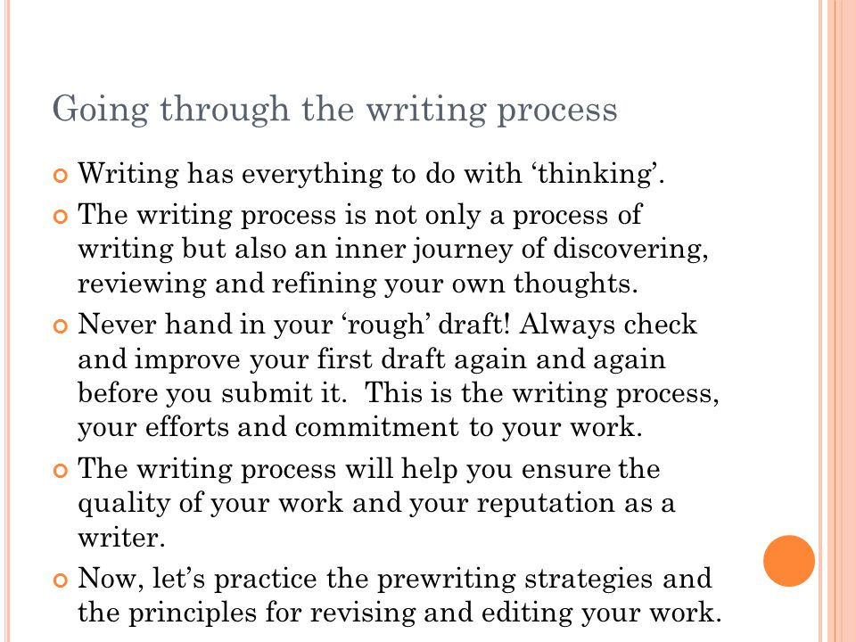 Going through the writing process Writing has everything to do with 'thinking'. The writing process is not only a process of writing but also an inner