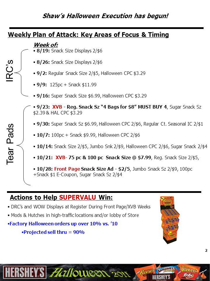 2 Shaw's Halloween Execution has begun! Week of: 8/19: Snack Size Displays 2/$6 8/26: Snack Size Displays 2/$6 9/2: Regular Snack Size 2/$5, Halloween
