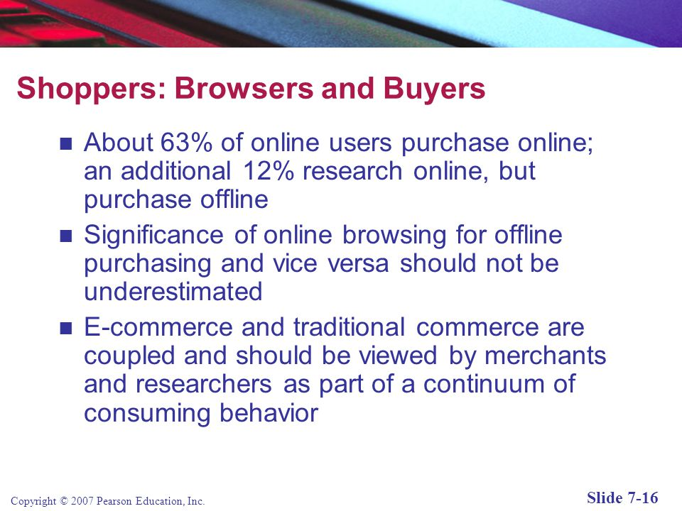 Copyright © 2007 Pearson Education, Inc. Slide 7-15 A Model of Online Consumer Behavior Figure 7.4, Page 372