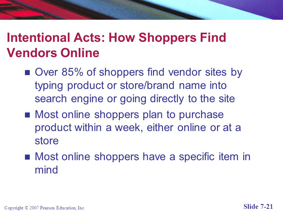 Copyright © 2007 Pearson Education, Inc. Slide 7-20 What Consumers Buy Online—Large Ticket Items Figure 7.6, Page 376 SOURCE: Based on data from eMark