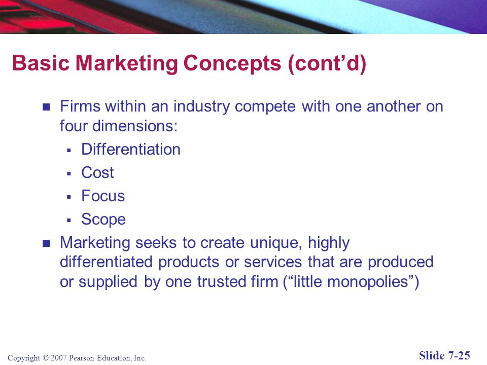 Copyright © 2007 Pearson Education, Inc. Slide 7-24 Basic Marketing Concepts Marketing: The strategies and actions firms take to establish a relations