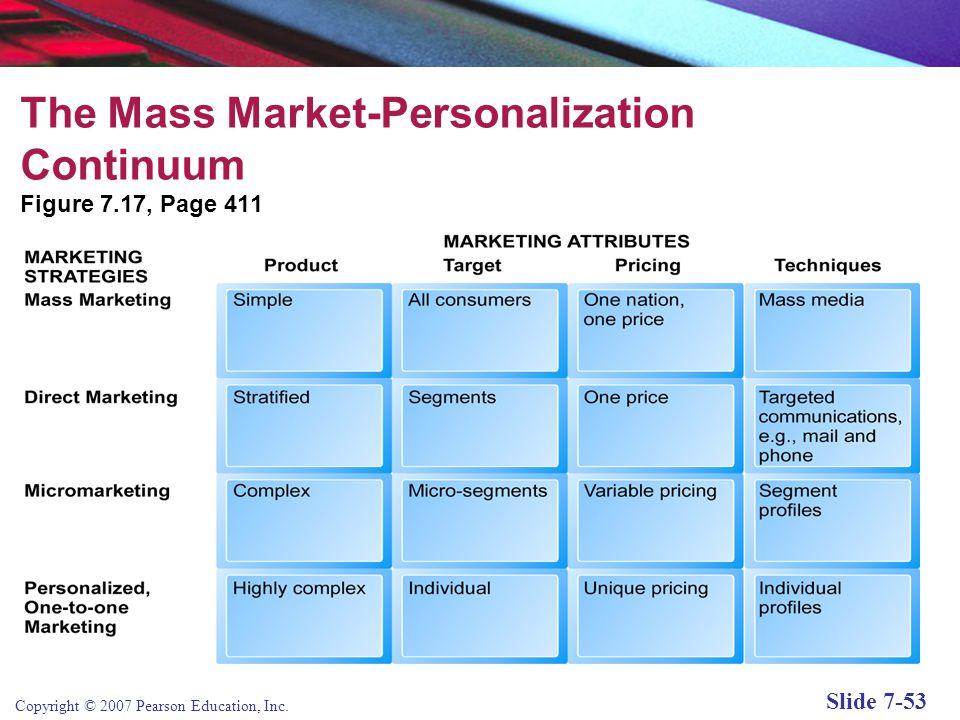 Copyright © 2007 Pearson Education, Inc. Slide 7-52 Customer Retention: Strengthening the Customer Relationship Mass market-personalization continuum
