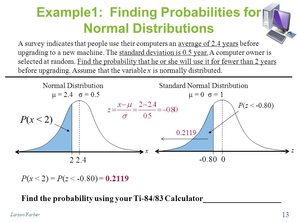 Example1: Finding Probabilities for Normal Distributions A survey indicates that people use their computers an average of 2.4 years before upgrading to a new machine.