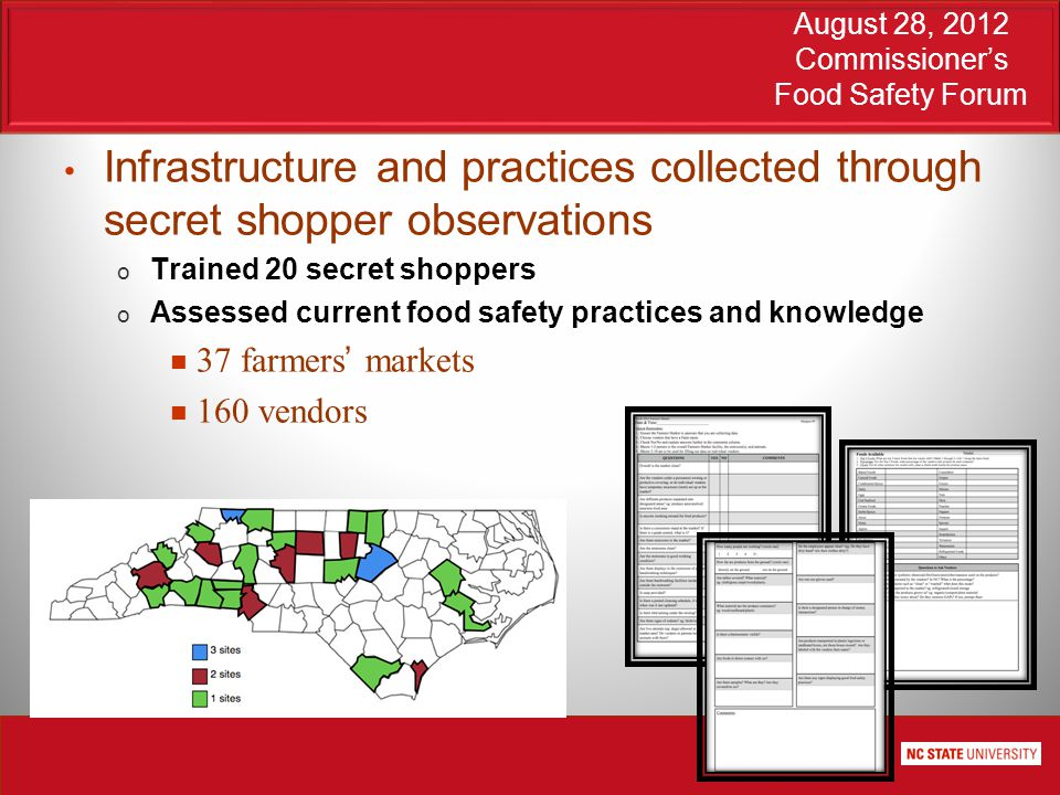 August 28, 2012 Commissioner's Food Safety Forum Infrastructure and practices collected through secret shopper observations o Trained 20 secret shoppers o Assessed current food safety practices and knowledge 37 farmers' markets 160 vendors
